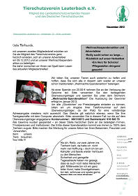Newsletter vom November 2012